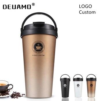 Logo Custom Creative Theroms Mug With Lid Double Wall Stainless Steel Coffee Mug For Travel Vacuum Flask Driving Drinkware 500ml