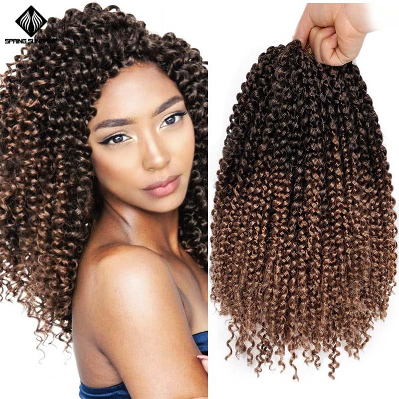 14inch Ombre Bohemian Crochet Braid Marley Braids Synthetic Afro Kinky Jerry Curl Braiding Hair Extensions For Women