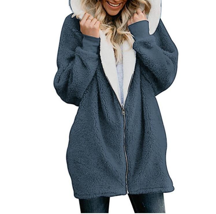 2019 Hoodie Sweatshirt Winter Thicken Warm Faux Fur Coat Women Hooded Soft Fleece Zipper Jackets Female Casual Outwear Coat