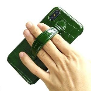 Image 4 - Solque 정품 가죽 울트라 얇은 케이스 아이폰 X XS 맥스 7 8 플러스 핸드폰 럭셔리 악어 핸드 스트랩 슬림 하드 커버 케이스