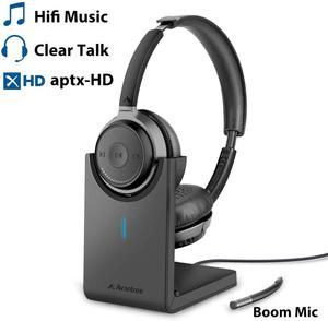 Avantree bluetooth 5.0 fone de ouvido para computador pc, aptx hd som de música superior, baixa latência sem fio em fones de ouvido da orelha com microfone do crescimento