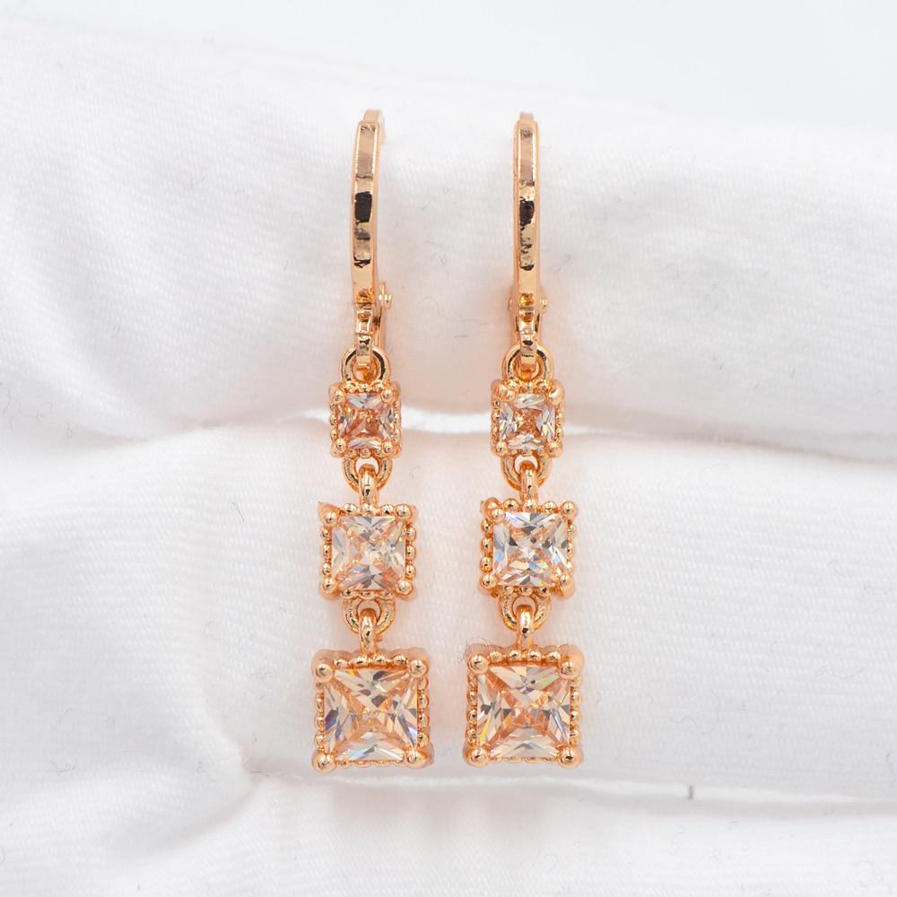 Women Gold Color Fashion Champagne Cubic Zirconia CZ Square Blocks Dangle Earrings Jewelry