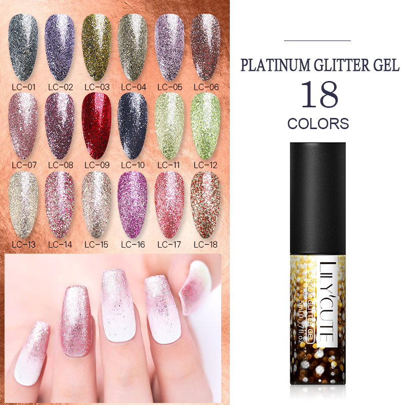 LILYCUTE 5ml Sparkling Platinum Sequins Gel Nail Polish Glitter UV LED Gel Nail Varnish Shining Soak Off UV Varnish Hybrid Gel