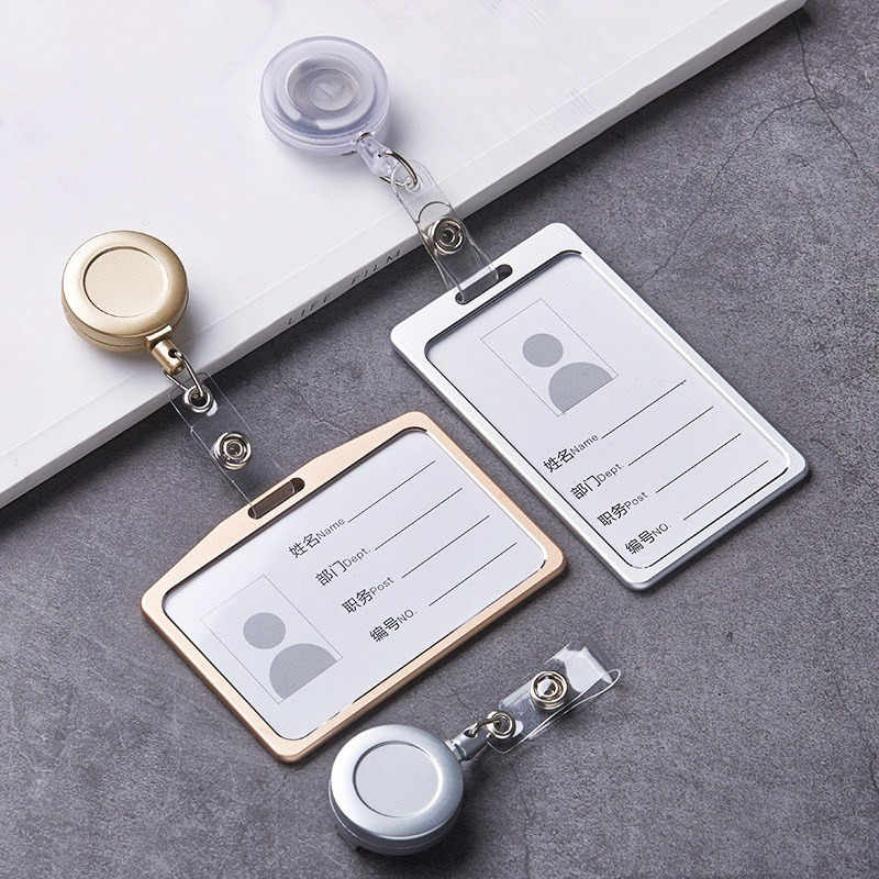 1 Set Aluminum Alloy Card Holder with ABS Retractable Badge Reel Pull ID Card Badge Holder