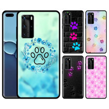 Dog Footprint Paw Silicone Case Cover for Huawei P40 Pro P30 Pro P20 Pro P40 P30 P20 P10