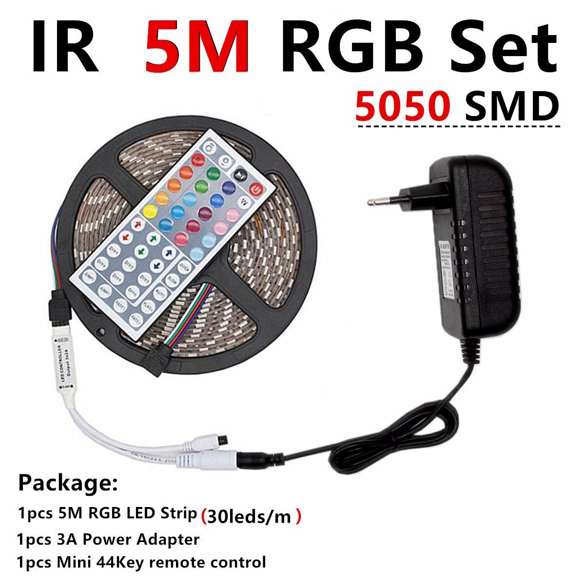 He4fa4db2c0d84b668bb4a77948613bf1T RGB LED Strip Light RGB 5050 SMD 2835 Flexible Ribbon fita led light strip RGB 5M 10M Tape Diode DC 12V Remote Control Adapter
