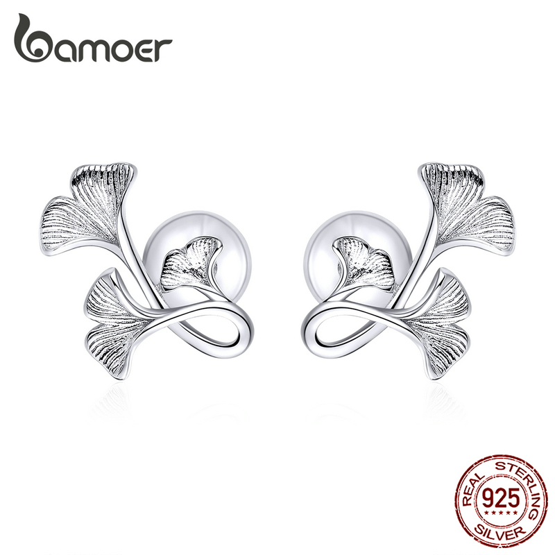 bamoer Silver 925 Design Ginkgo Leaf Stud Earrings for Women Real Sterling Silver Luxury Brand Jewelry Pendiente New BSE328(China)