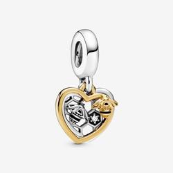Spring Garden  Beads Hearts & Bees Dangle Charms fit Original Pandora Bracelets Women DIY Jewelry
