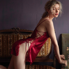 Nightgowns Sleeping-Wear Lace Ice-Silk Sexy Fashion Women's Side Home Hollow-Out-Sling