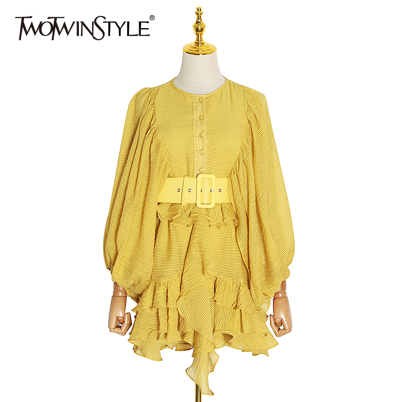 TWOTWINSTYLE Elegant Patchwork Ruffles Women Dresses O Neck Lantern Long Sleeve High Waist With Sashes Dress Female Clothing New