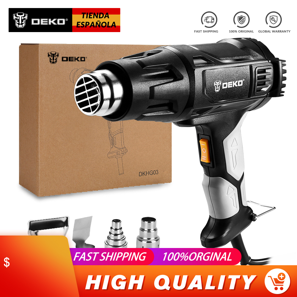 DEKO 220V 2000W Heat Gun, Hot Air Gun Variable Temperature Electric Paint Gun With 4-Nozzles Hot Air Gun