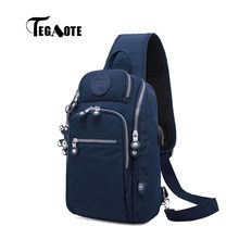TEGAOTE Sling Bag Nylon Chest Pack Men Messenger Bags Casual Travel Fanny Flap Male Small Retro Shoulder Bag USB Charge Newest(China)