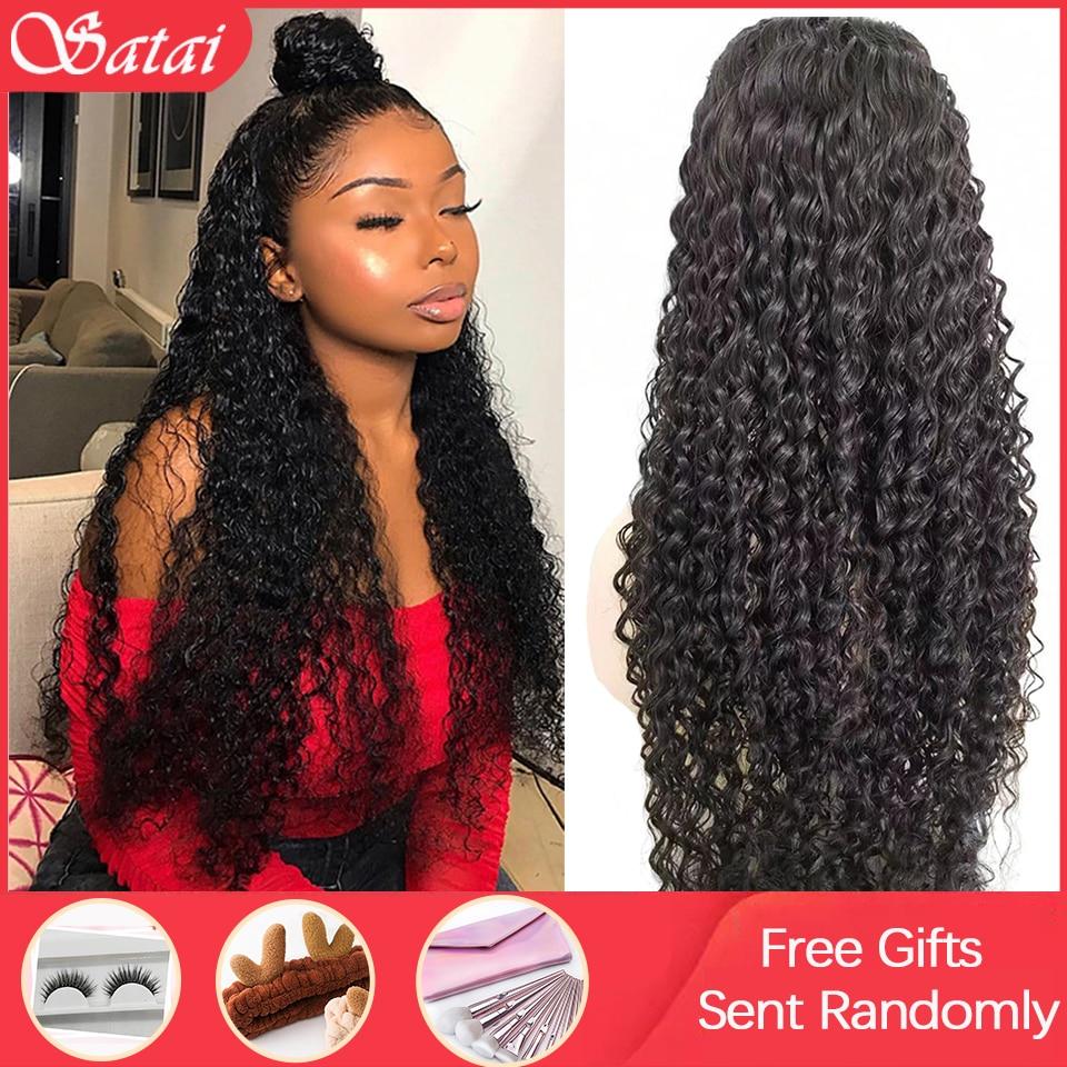 Satai peruca de cabelo encaracolado, 13x6 peruca frontal com renda cabelo humano brasileiro remy peruca de onda 180 densidade perucas de cabelo humano frontal