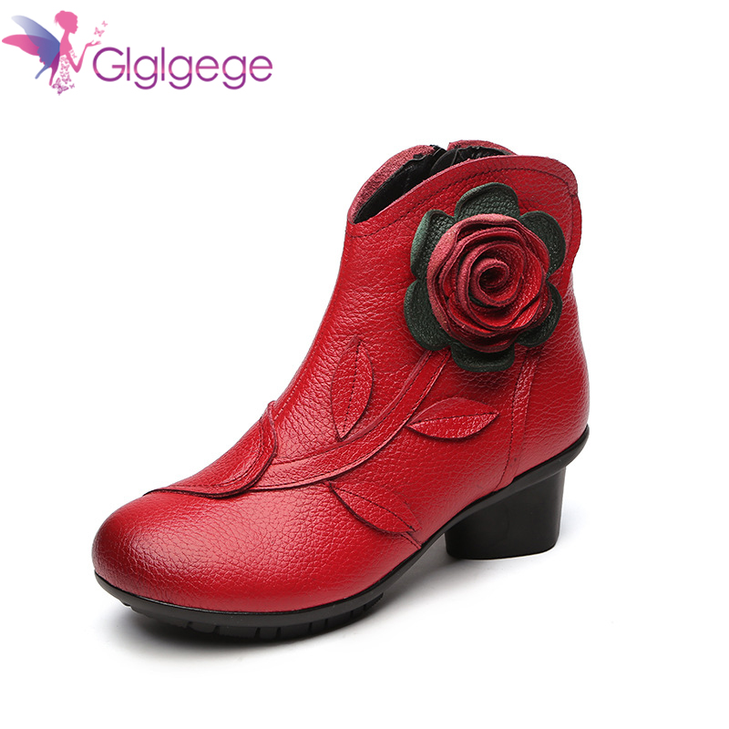 Promo Glglgege Autumn Winter Fashion Genuine Leather Shoes Women's Boots Casual Women Thick High Heels Handmade Woman Ankle Boots