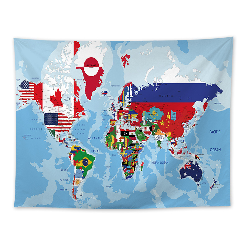 Nordic Best Sale World Map Student Dormitory Bedroom Decoration Tapestry World Map Background Map