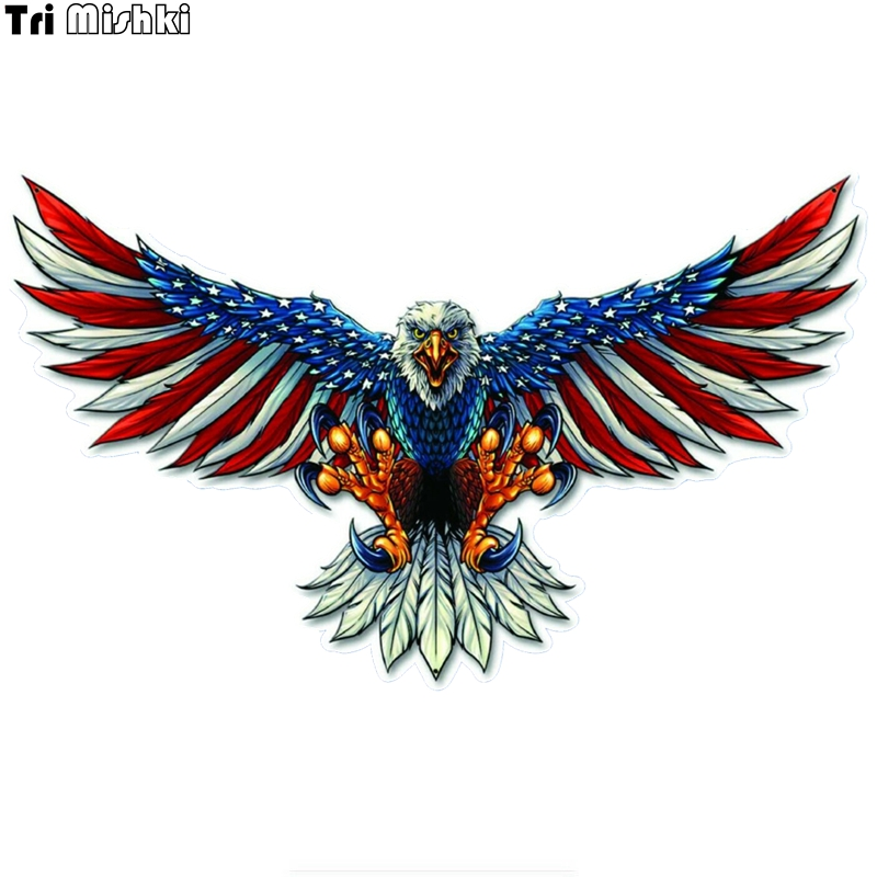 Tri Mishki WCS758 11.5*19cm 14*23cm American Flag Bald Eagle Car Sticker PVC  Coloful Decals Motorcycle Accessories Sticker