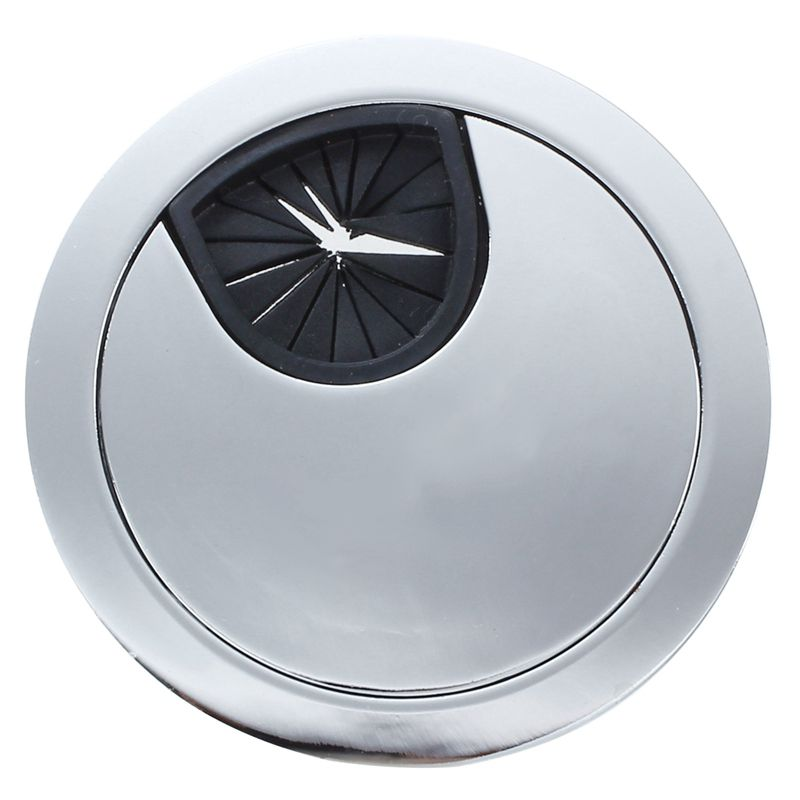 Botique-Computer Desktop 50mm Diameter Round Stainless Steel Cable Hole Cover Cap