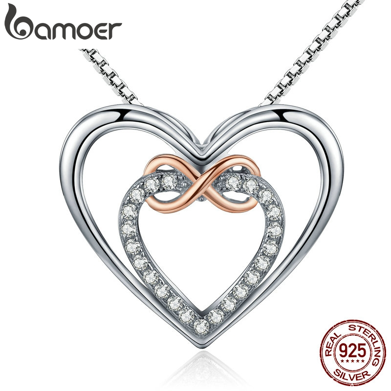 BAMOER Authentic 925 Sterling Silver Elegant Infinity Love Double Heart Pendant Necklaces for Women Fine Jewelry Gift SCN121| |   - AliExpress
