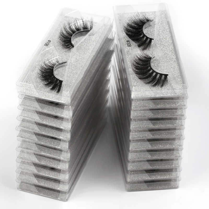 Meishenji بالجملة 10/20/30/40/50/100 pairs الرموش ثلاثية الأبعاد المنك جلدة الطبيعية الرموش الصناعية سميكة رقيق حجم ماكياج جلدة