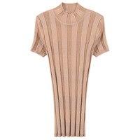 Women T Shirt Knitted Elegant Rib T Shirt Bodycon Summer Tees Slim Pullovers Top Runway Deisgn Jumper Short Sleeve Office Lady
