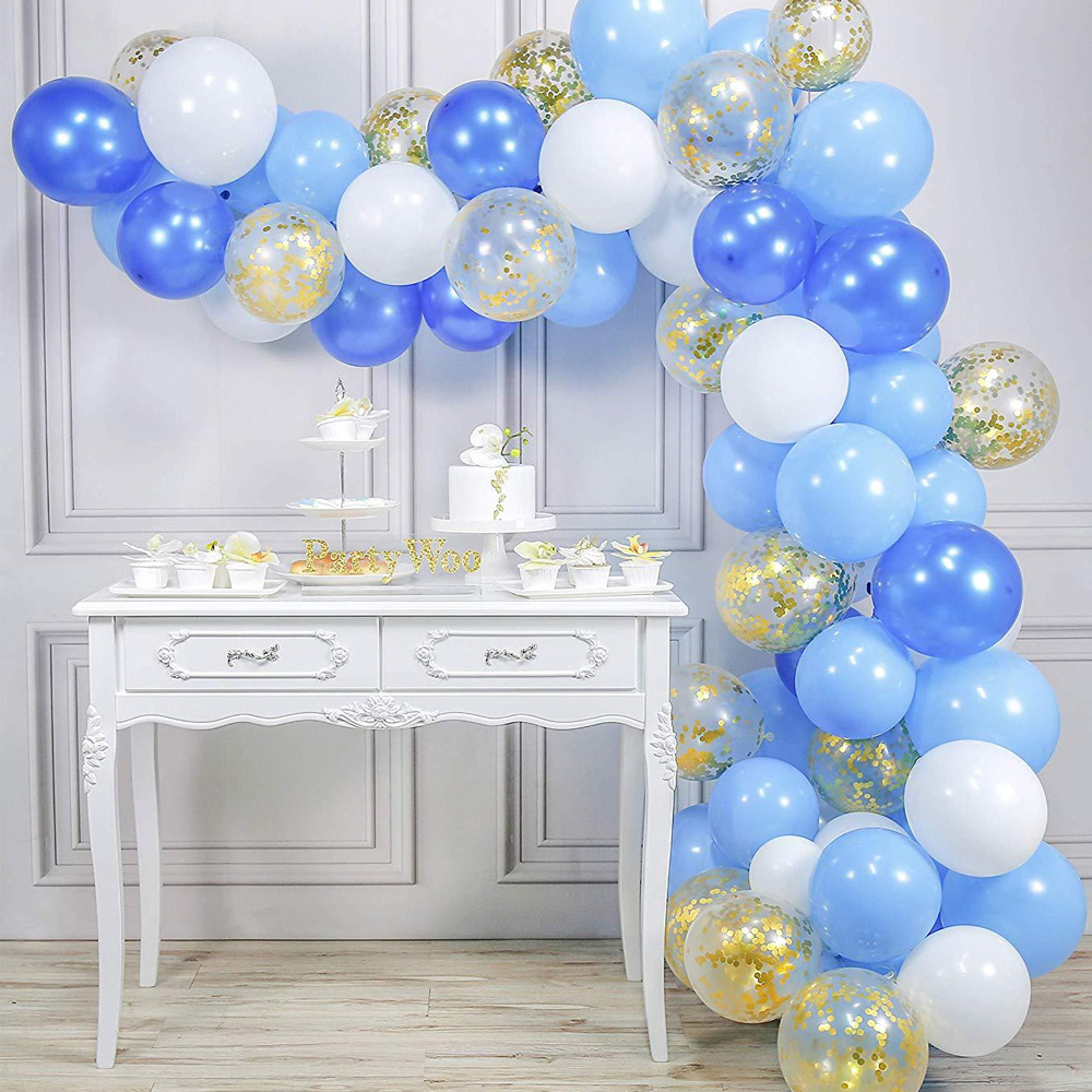 70pcs Blue White Golden Balloons Confetti Set Chrome Birthday Party Wedding Anniversary Decoration Baby Shower Decor 12inch