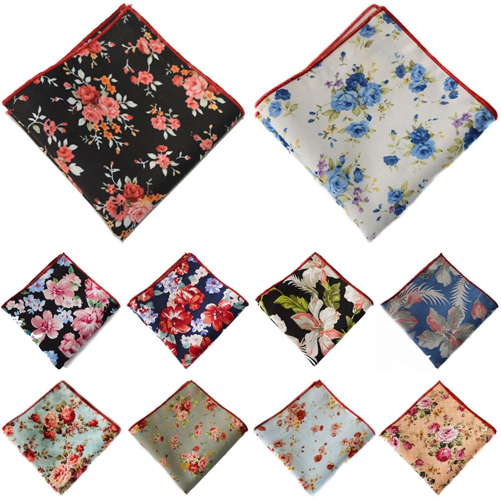Men Floral Flower Pocket Square Handkerchief Wedding Party Accessories Hanky BWTYX0319