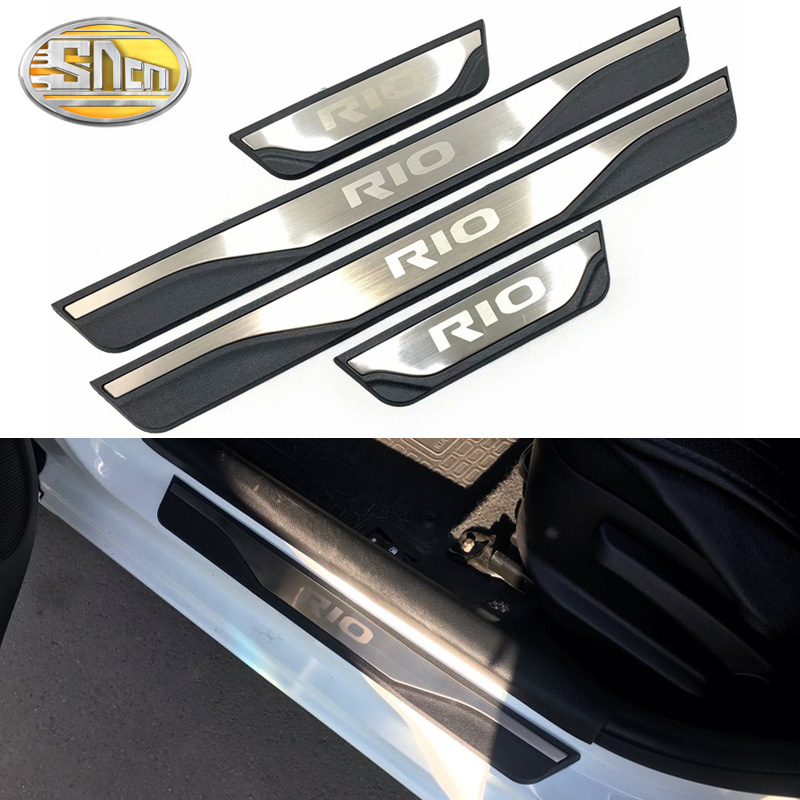 4PCS High-quality Stainless Steel Welcome Pedal Car Scuff Plate Pedal Trim Threshold Door Sill For Kia Rio 3 4 2015 2016 - 2018
