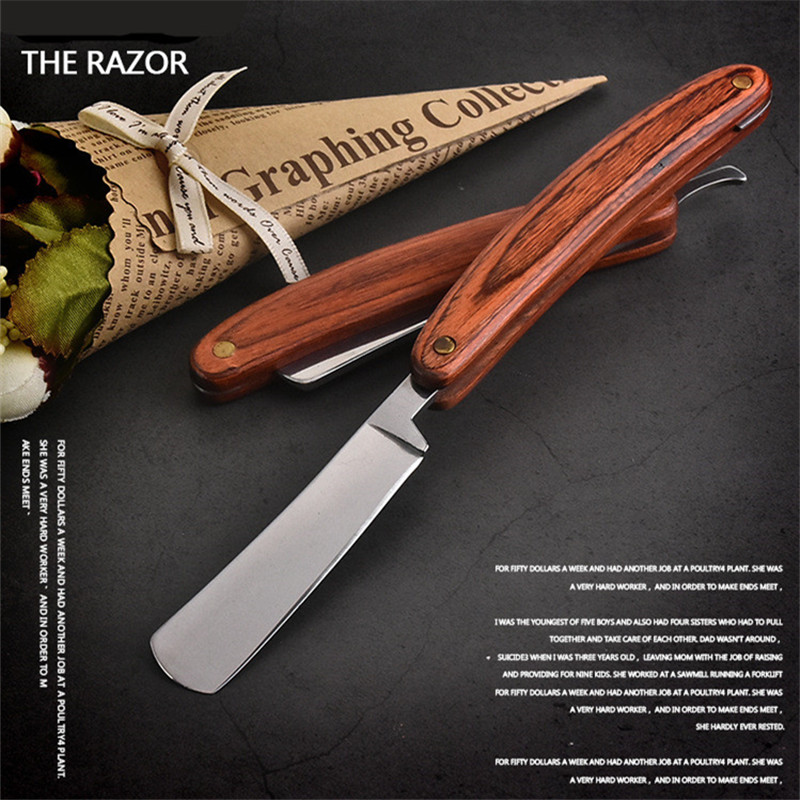 1PC Vintage Old Shaving Knife Straight Edge Stainless Steel Barber Razor Folding Shaving Knife Hair Removal Tools Wooden Handle