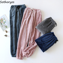 Sleepwear Bottoms-Couples Velvet Flannel Warm Plus Women Solid Thicker Comfortable Female