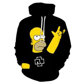 Men Women Hoodie Letter 3D Fashion Print Simpson Sweatshirt Long Sleeve Fat Body Hoodies Cartoon Simpsons Mens high quality Coat 1