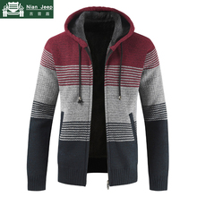 2019 Winter Sweater Men Thick Warm Hooded Cardigan Striped Patchwork S