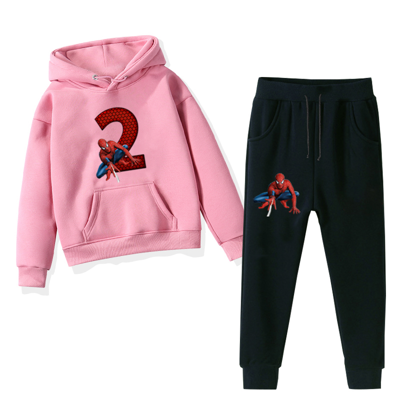 Cute Spider-man Number Custom Kids Hoodie Set Clothes Baby Sweatshirts + Pants 2Pcs/Sets Toddler Christmas Birthday Gift Outfits