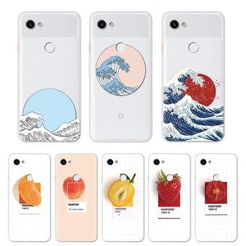 Перейти на Алиэкспресс и купить Прозрачный волнистый персиковый чехол для телефона Google Pixel 2 3 4 XL 3a Мягкий ТПУ Fundas клубника оранжевый чехол