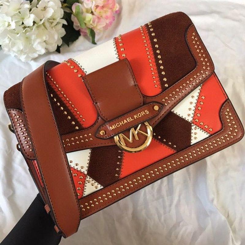 2020 New Women's Stitching Handbag Fashion Genuine Leather Brand Women's Bag Shoulder Diagonal Rivet Small Square Bag