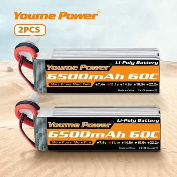 2pcs Youme 3S Lipo Battery 6500mah 60C with trex Deans conenctor for traxxa 1/10 1/12 RC Car Monsters Truck Racing Airplane Boat