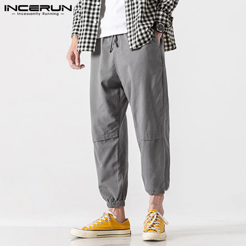 INCERUN Mens Overall Joggers Pants Men Casual Loose Streetwear Trousers Male Cargo Bottom Multi-pocket Cotton Military Overalls