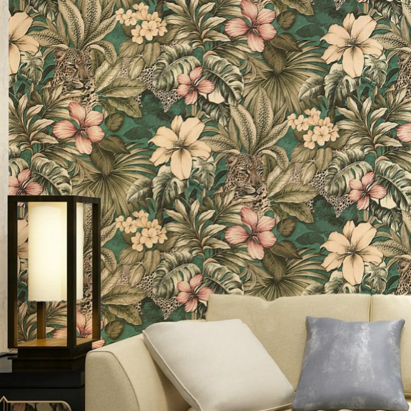 Papel de pared de fondo de dormitorio de vinilo de lujo rollo de papel pintado Tropical Floral de jungla y leopardo PVC 3D pegatina extraíble base borde autoadhesivo impermeable patrón papel pintado borde decoración de pared