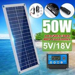50W Zonnepaneel Dubbele Usb 18V/5V Zonnecellen + 10/20/30/50A Controller Voor Auto Jacht Rv Opladen Outdoor Noodverlichting