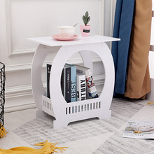 Small table coffee table living room sofa side table balcony square table with magazine storage rack