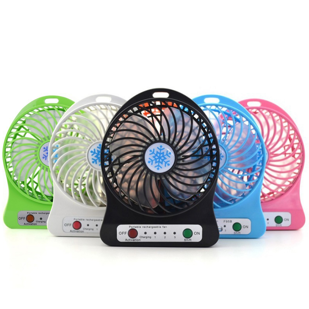 Portable Mini Fan USB Rechargeable Fan With LED Light Handheld Speed Adjustable Fan For Home Office Travel