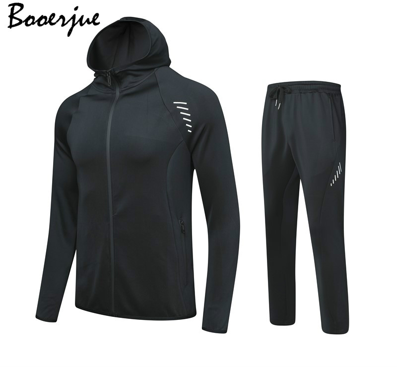 Casual Set Men Hoodies Gym Sport Training Fitness Bodybuilding Sweatshirt Outdoor Sportswear Male Tracksuit Jacket Hoodies 2020