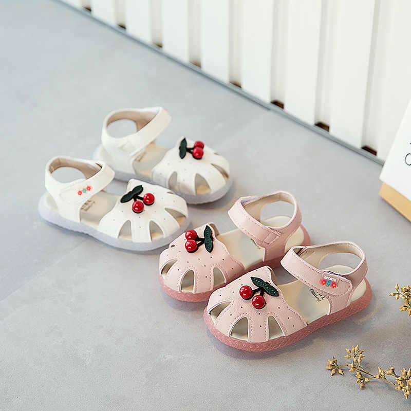 Fashion Princess Beach Sandal untuk Anak Manis Cherry Bunga Kasual Lembut Bawah Hook & Loop Anak Perempuan Berongga Sepatu Balita Bayi flat