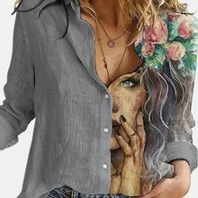 Shirts Elegant Tops Office-Button Blouse Women Turn-Down-Collar Long-Sleeve Print Casual