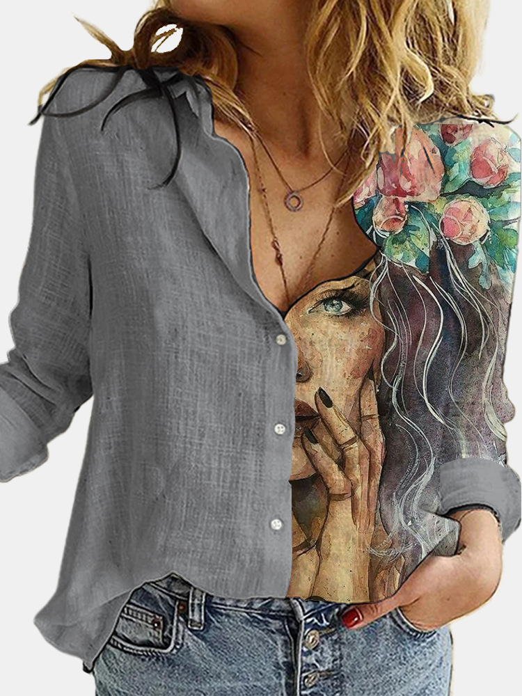 Aprmhisy Turn Down Collar Long Sleeve Blouse Women Shirts Elegant Print Autumn Casual Office Button Shirt Tops