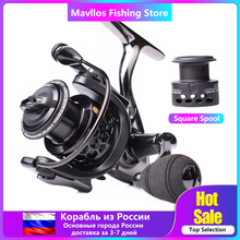 Mavllos Saltwater Carp Spinning Fishing Reel 15BB Ratio 5.5:1 1000 7000 Model 2 Spools Metal Body Sea Boat Jigging Fishing Reel