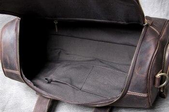 Crazy Horse Carry On Luggage Mens Genuine Leather Shoulder Travel Bag Multifunction Waterproof Cowhide Duffle Outdoor Bag DF117