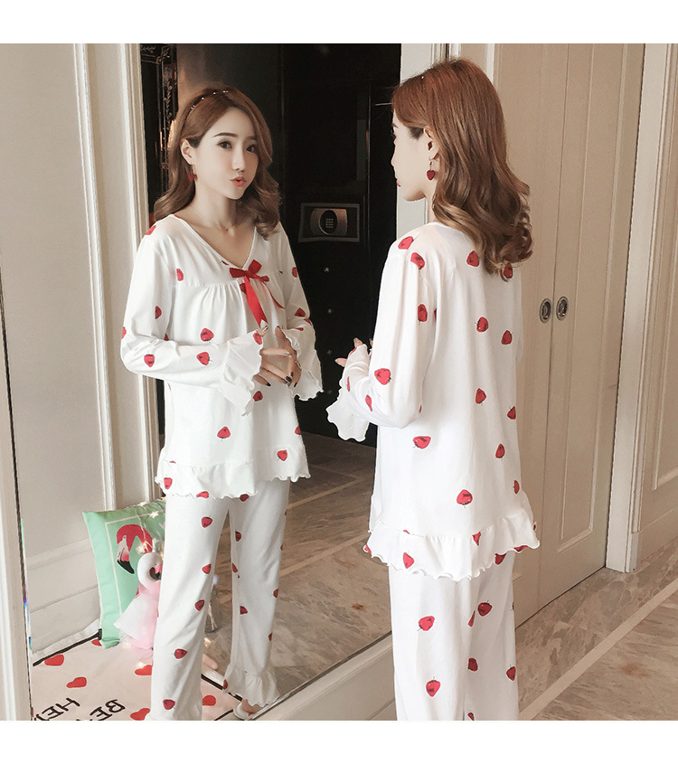 Autumn Women Cotton Pajamas Sets 2 Pcs Cartoon Printing Pijama Pyjamas Long Sleeve Bowknot Pyjama Sleepwear Sleep Set 47
