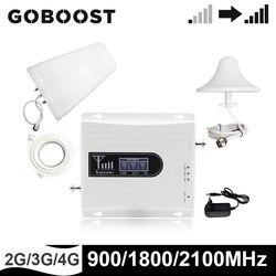GOBOOST GSM 900 UMTS 1800 2100MHz tri-band wzmacniacz sygnału 2g 3g 4g telefon komórkowy wzmacniacz zestawy