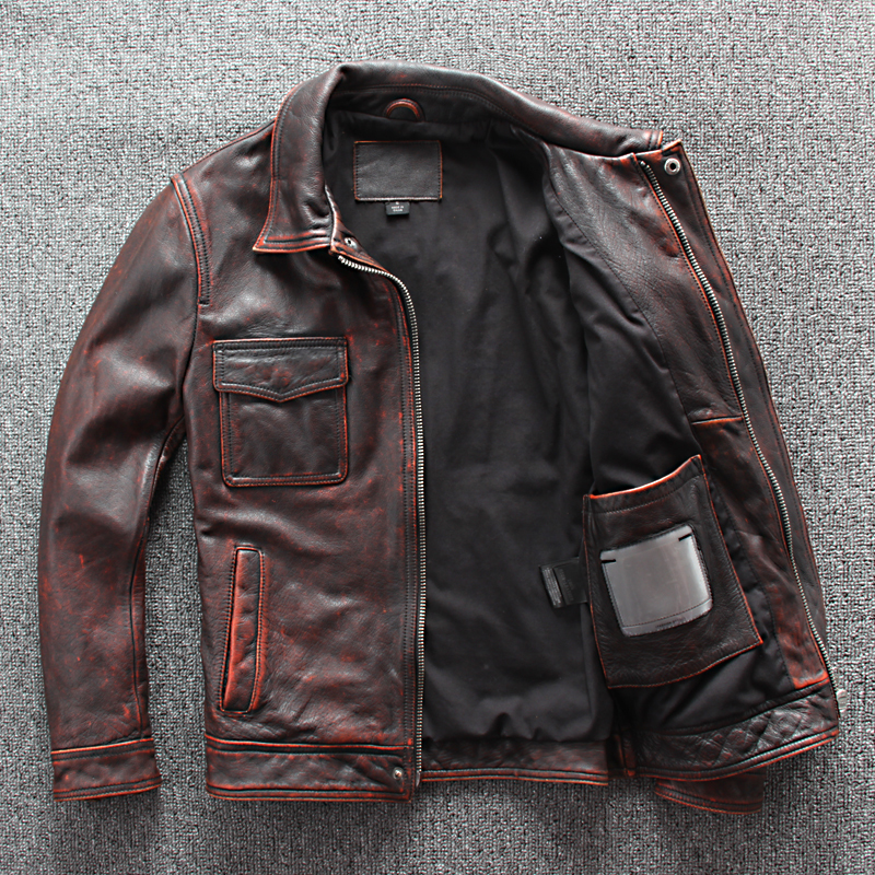 2020 Japanese Vintage Red Brown Cow Jacket Stone Wash Slim Fit Four Pockets Genuine Leather Coat For Men Factory