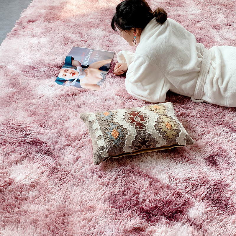 RULDGEE Tie Dye Carpet Shaggy Plush Floor Fluffy Printed Mats For KIDS Faux Fur Area Rug Living Room Mats Absorption Rugs